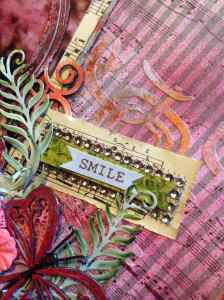I used some recent goodies from Dreamweaver Stencils. The backgound stencil and the leaf die.
